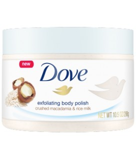 DOVE EXFOLIATING BODY SCRUB 225ML CRUSHED MACADAMIA & RICE MILK SCENT